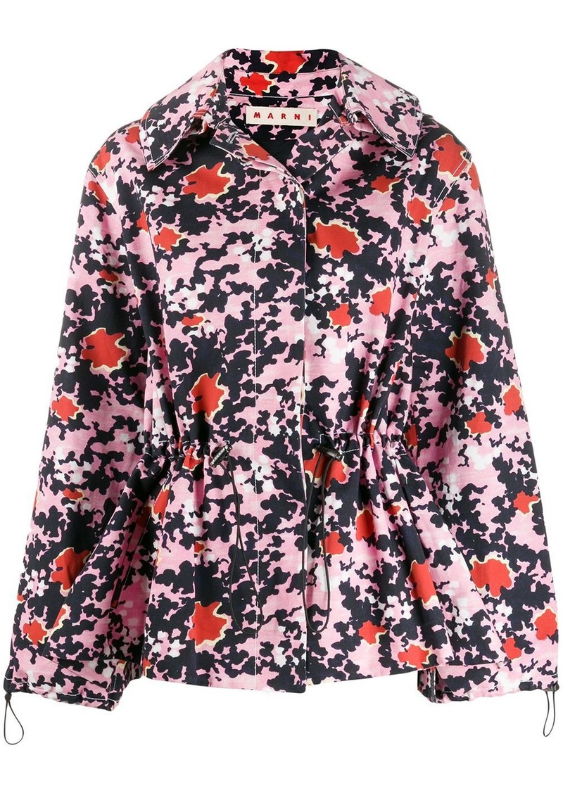Marni Buds print hooded bomber jacket
