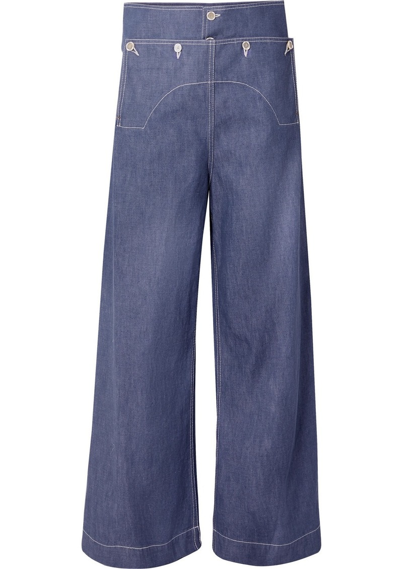 Marni Button-embellished High-rise Wide-leg Jeans