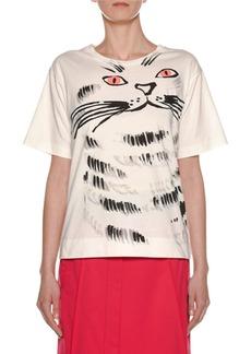 Marni Cat-Face Print Cotton Jersey T-Shirt