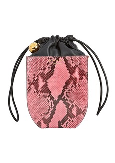 Marni Coffer Snake-Embossed Drawstring Bucket Bag