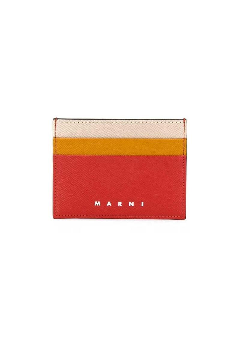 Marni colour-block logo-embossed cardholder