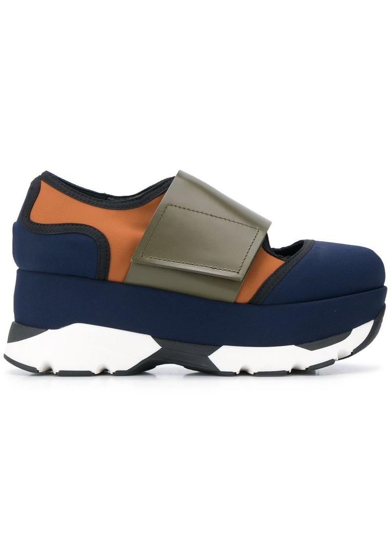 colour-block low-top flatform sneakers