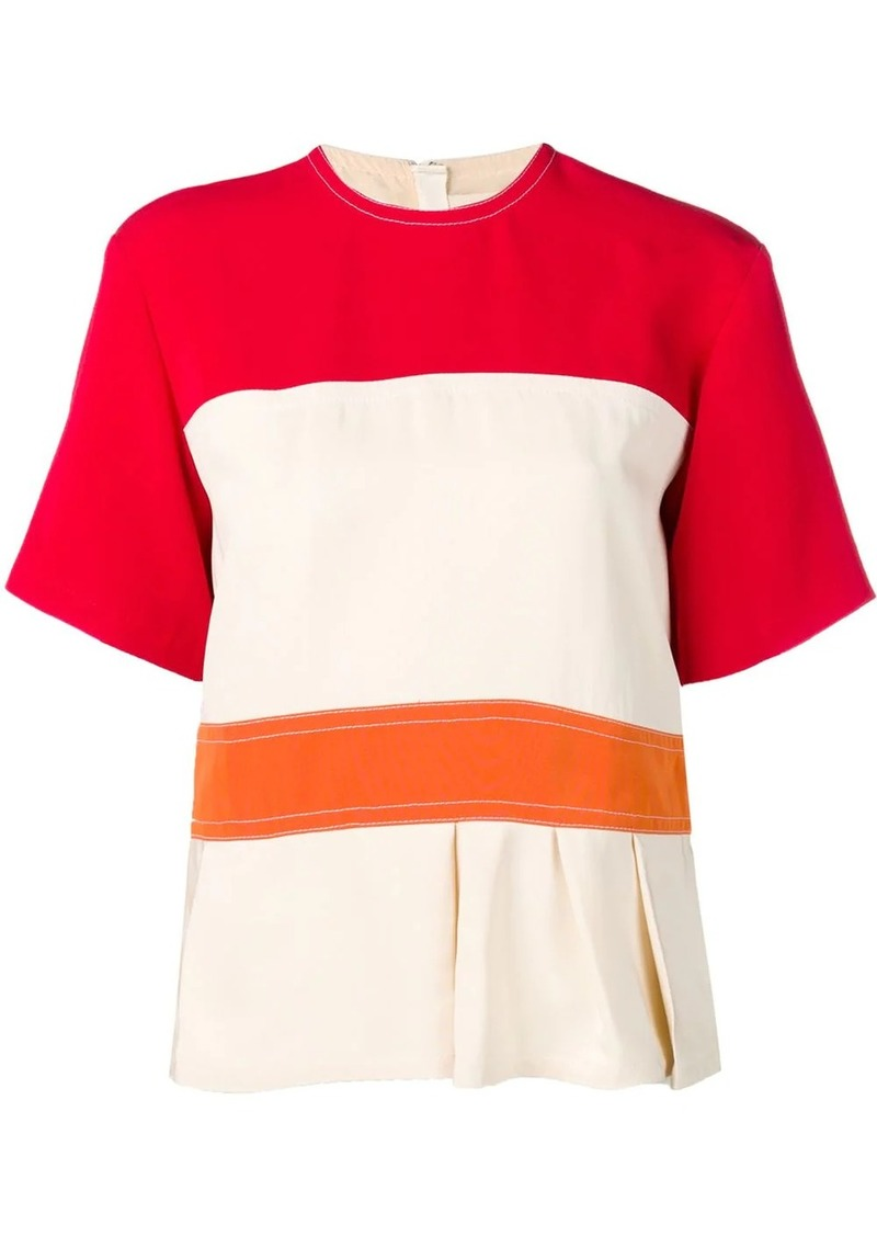 Marni colour block peplum top