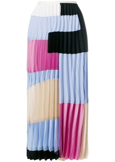 Marni colour block pleated skirt