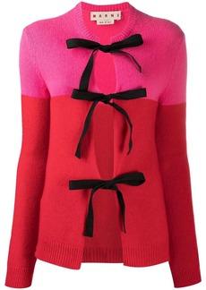 Marni colour-block tie-front cardigan