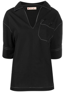 Marni contrast stitching polo blouse