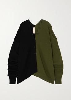 Marni Convertible Two-tone Wool Cardigan