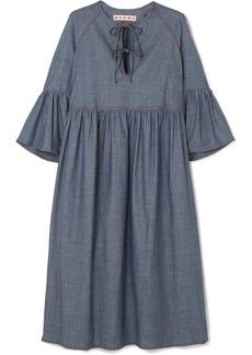 Marni Cotton-blend Chambray Midi Dress