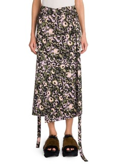 Cotton Sateen Floral Wrap Skirt