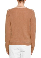 Marni Crewneck Long-Sleeve Cashmere Knit Sweater w/ Stitch Detail