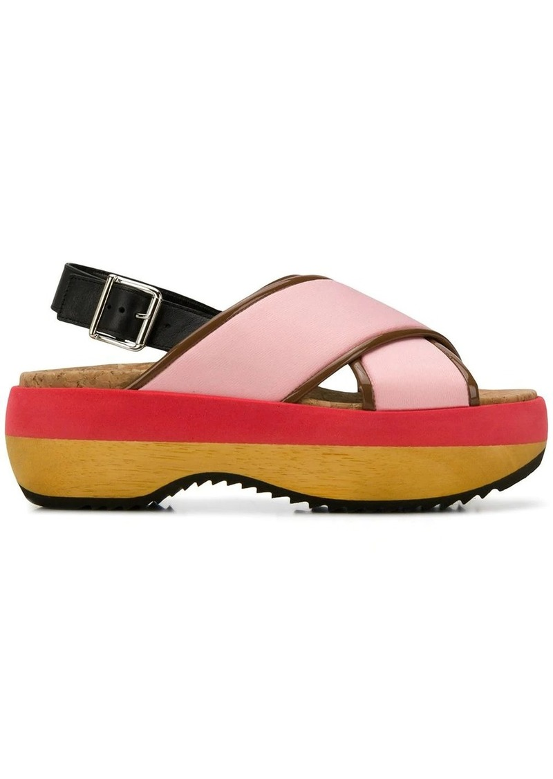Marni criss-cross wedge sandals
