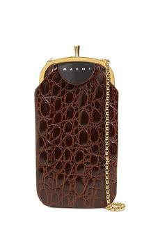 Marni Croc Embossed Leather Phone Case