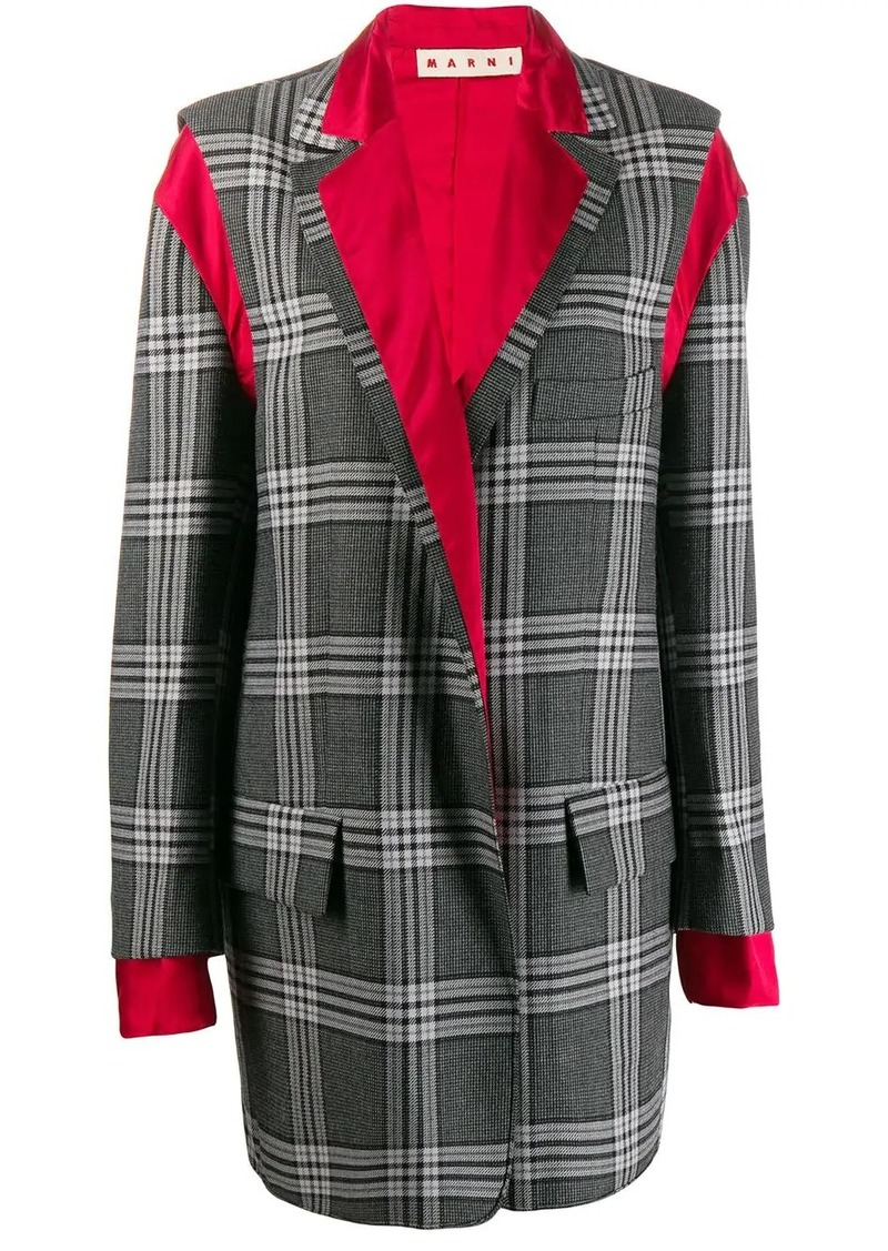 Marni deconstructed checkered coat