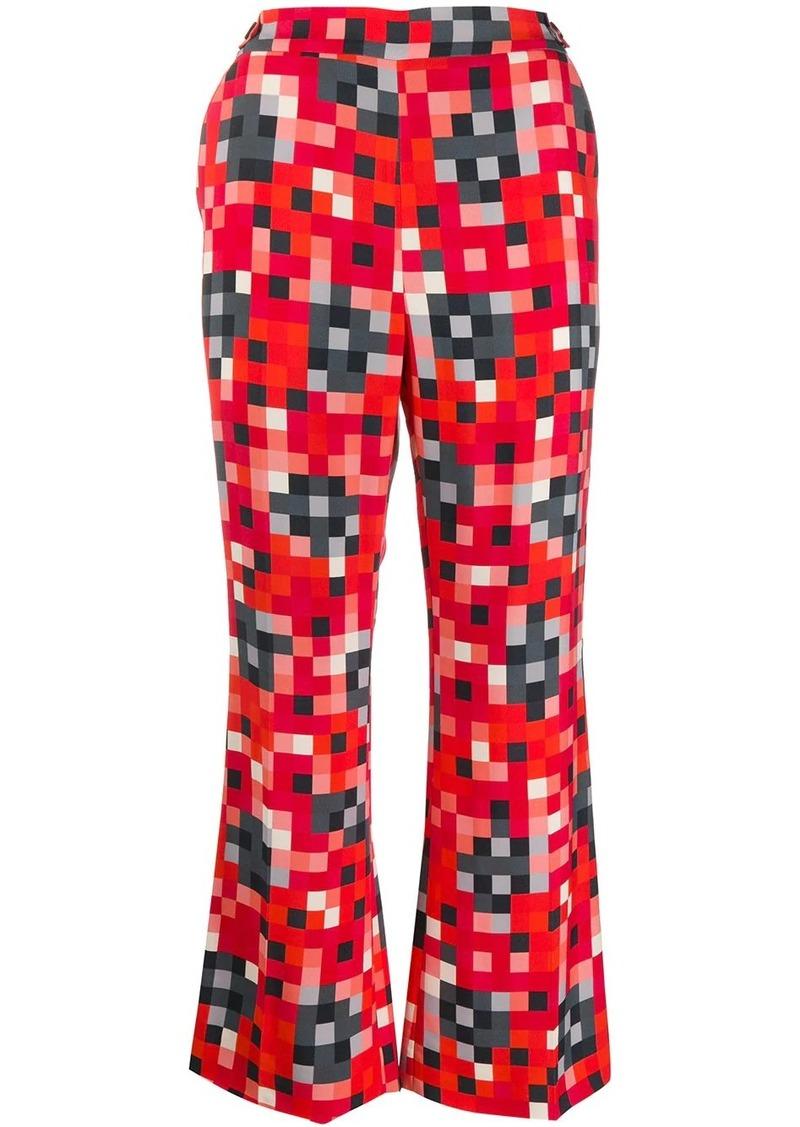 Marni digital print flared trousers