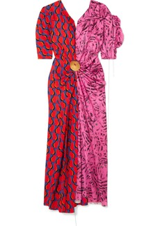 Marni Embellished Patchwork Printed Satin Midi Dress