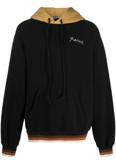 Marni embroidered-logo contrast hoodie