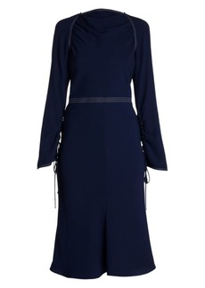 Marni Envers Crepe Long-Sleeve Flared Dress