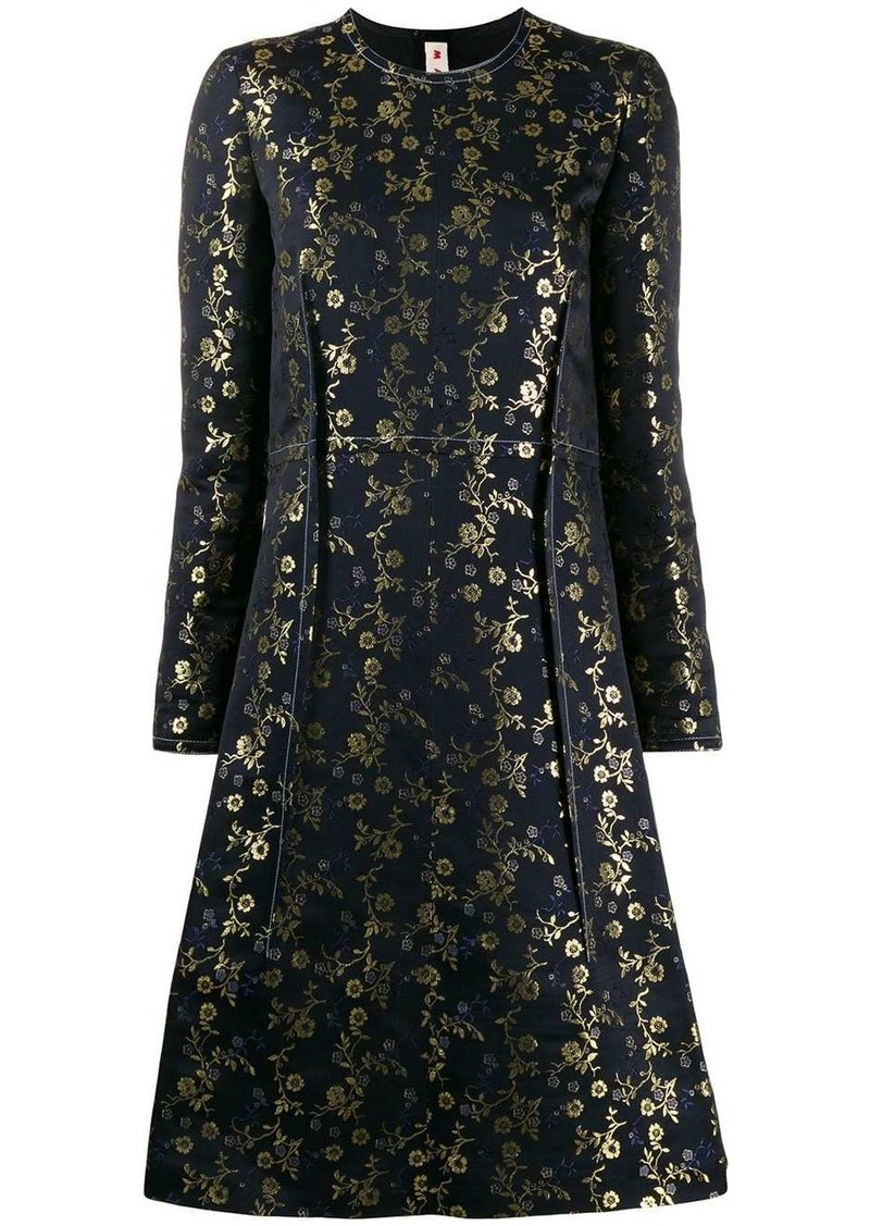 Marni floral embroidered midi dress