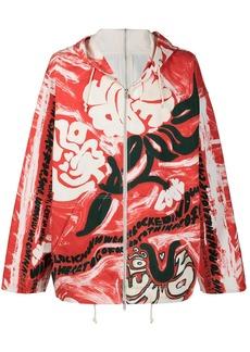 Marni floral-painting oversized zip hoodie