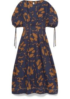 Marni Floral-print Cotton-poplin Midi Dress