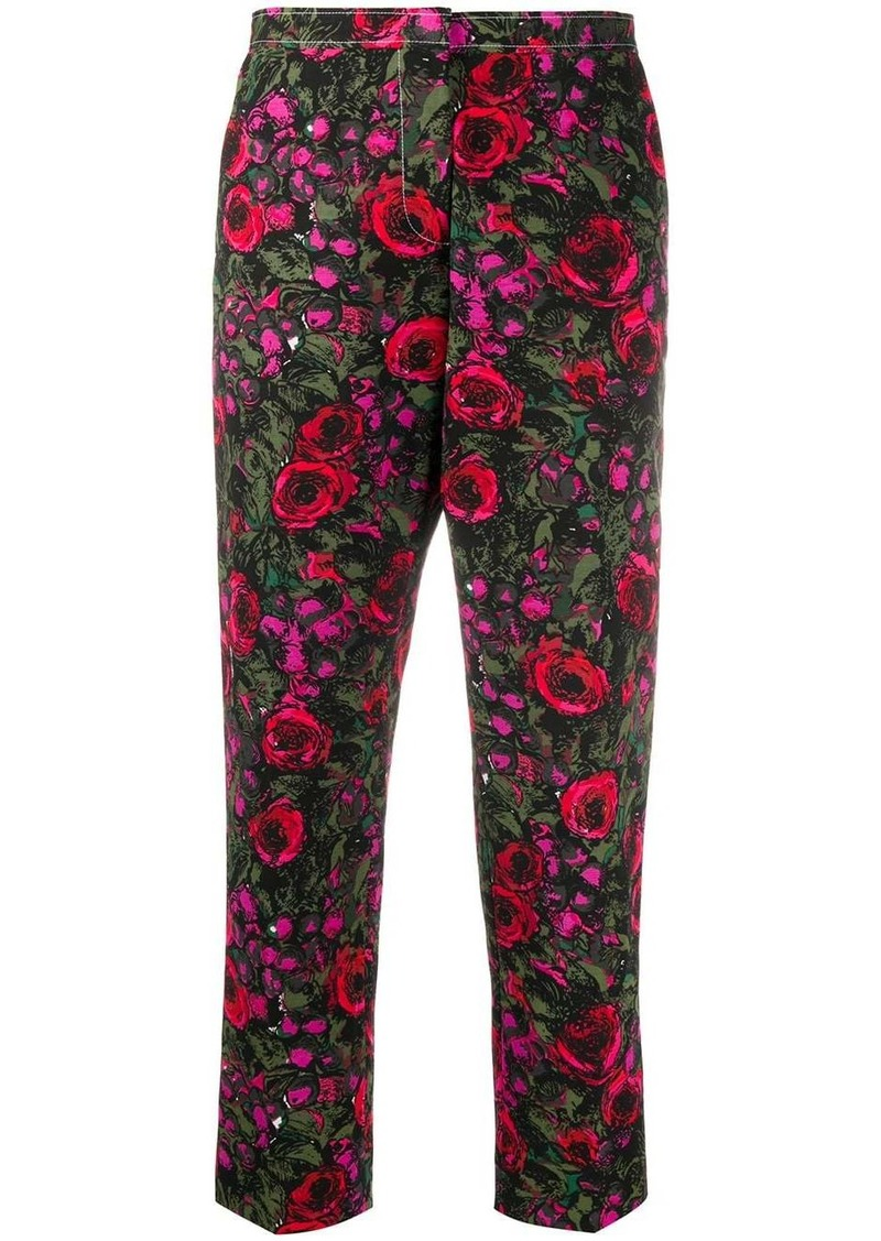 Marni floral-print cropped faille trousers