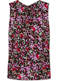 Marni Floral-print Silk Crepe De Chine Top