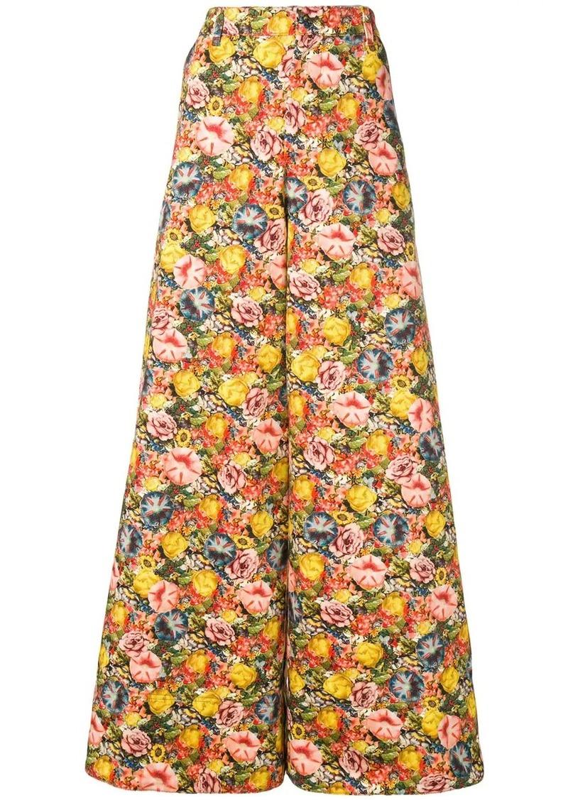 Marni floral-print twill trousers