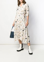 Marni floral printed flared dress