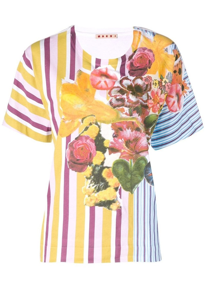 Marni floral striped T-shirt