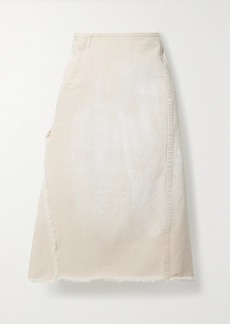 Marni Frayed Denim Midi Skirt