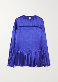Marni Frayed Ruffled Cupro-satin Blouse