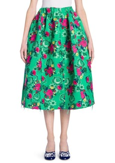 Full Floral Jacquard Skirt