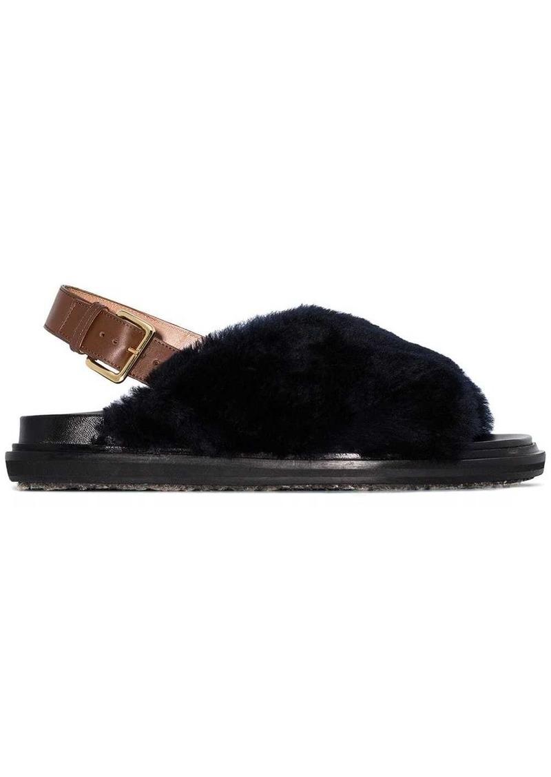 Marni Fussbett faux fur sandals