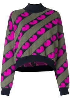 Marni fuzzy heart print jumper