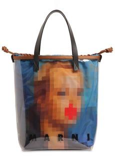 Marni Glossy Pixel-printed Pvc Tote Bag