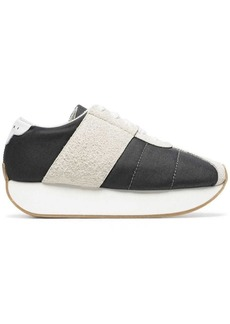 Marni grey and white 40 suede panel flatform sneakers