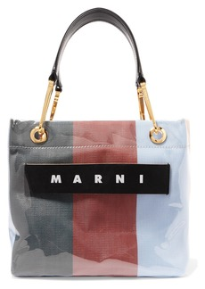 Marni Grip Small Leather-trimmed Striped Canvas And Pvc Tote