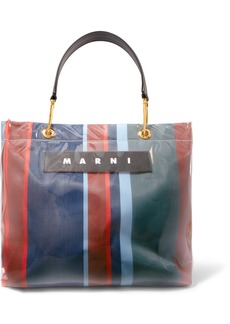Marni Grip Medium Leather-trimmed Striped Canvas And Pvc Tote