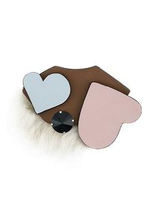 Marni heart furry brooch