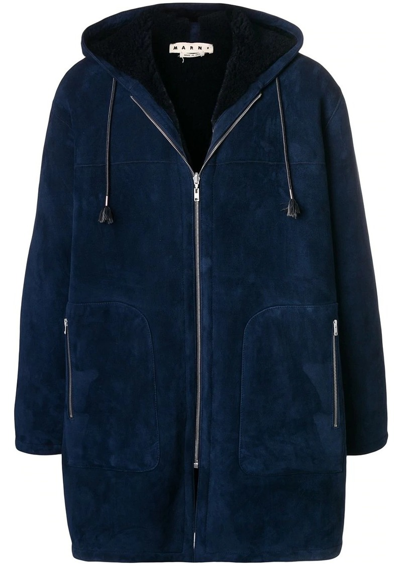 Marni hooded suede coat