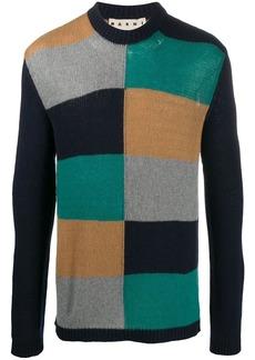 Marni intarsia colour-block pattern knitted jumper