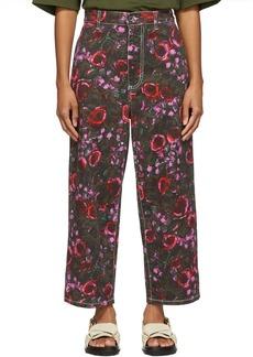 Marni Khaki Starlight Print Trousers