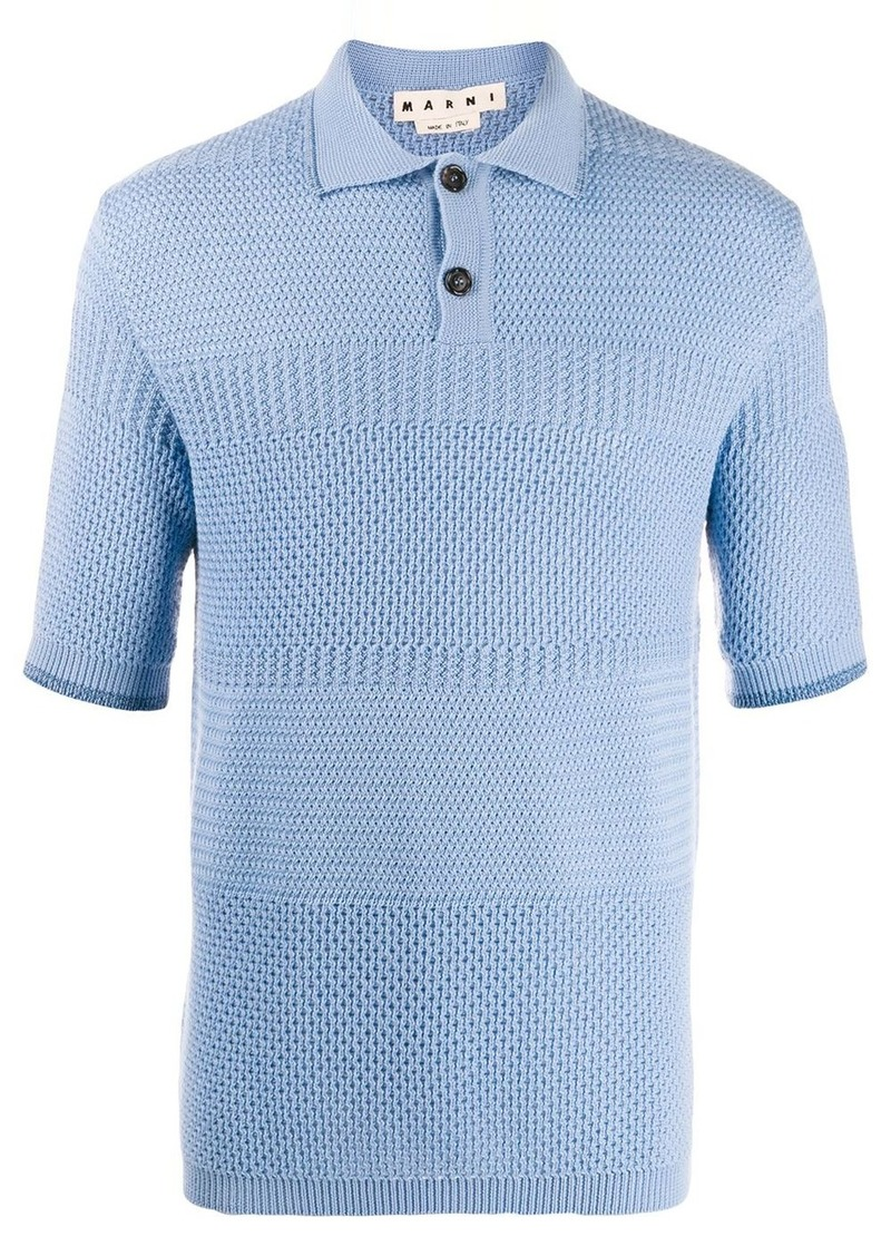 Marni open-work knit polo shirt