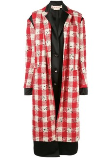 Marni layered effect checkered coat