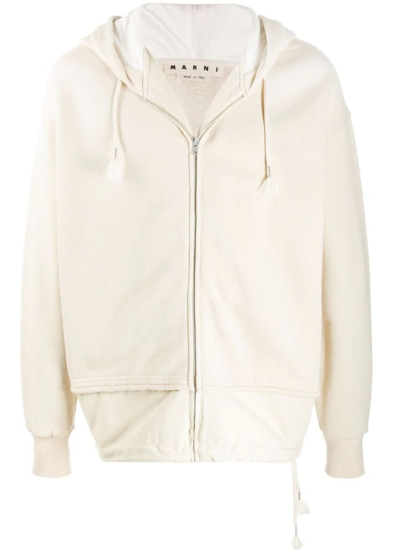 Marni layered effect zip-up hoodie