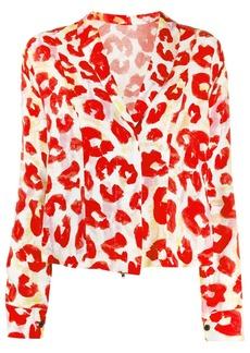 Marni leopard-print zip-up blouse