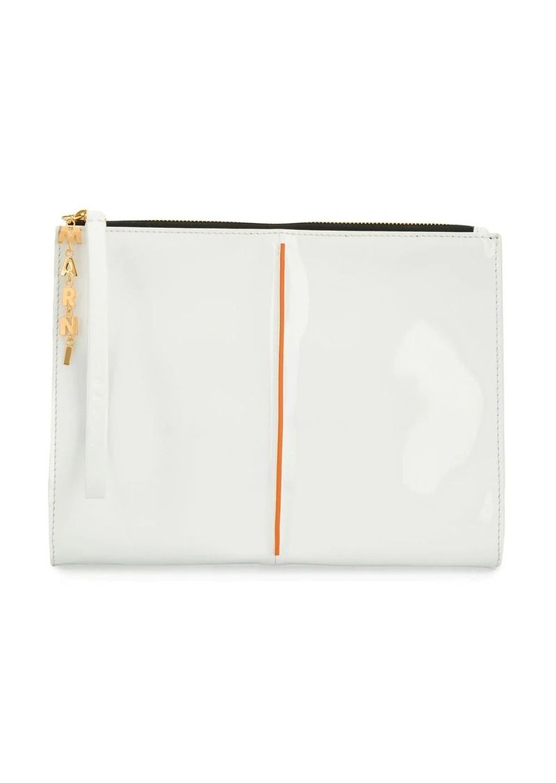 Marni letter chain glossy pouch