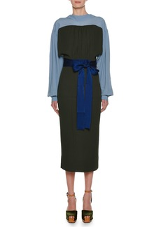Marni Long-Sleeve Bicolor Self-Belt Ankle-Length Crepe Dress