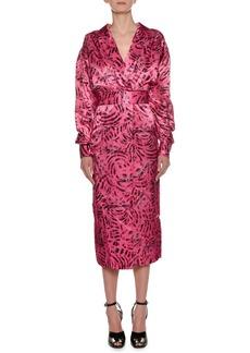 Marni Long-Sleeve Cat-Print Reverse Satin Ankle-Length Dress