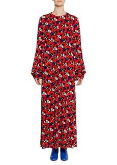 Marni Long-Sleeve Floral-Deco Print  Ankle-Length Dress